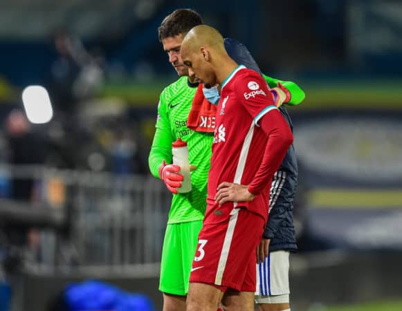 LEEDS, ENGLAND - Monday, April 19, 2021: Liverpool's goalkeeper Alisson Becker (L) and Fabio Henrique Tavares 'Fabinho' after the FA Premier League match between Leeds United FC and Liverpool FC at Elland Road. The game ended in a 1-1 draw. (Pic by Propaganda)