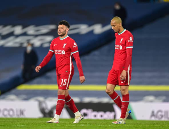 LEEDS, ENGLAND - Monday, April 19, 2021: Liverpool's Alex Oxlade-Chamberlain (L) and Fabio Henrique Tavares 'Fabinho' after the FA Premier League match between Leeds United FC and Liverpool FC at Elland Road. The game ended in a 1-1 draw. (Pic by Propaganda)