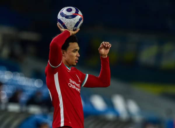 LEEDS, ENGLAND - Monday, April 19, 2021: Liverpool's Trent Alexander-Arnold prepares to take a throw-in during the FA Premier League match between Leeds United FC and Liverpool FC at Elland Road. (Pic by Propaganda)