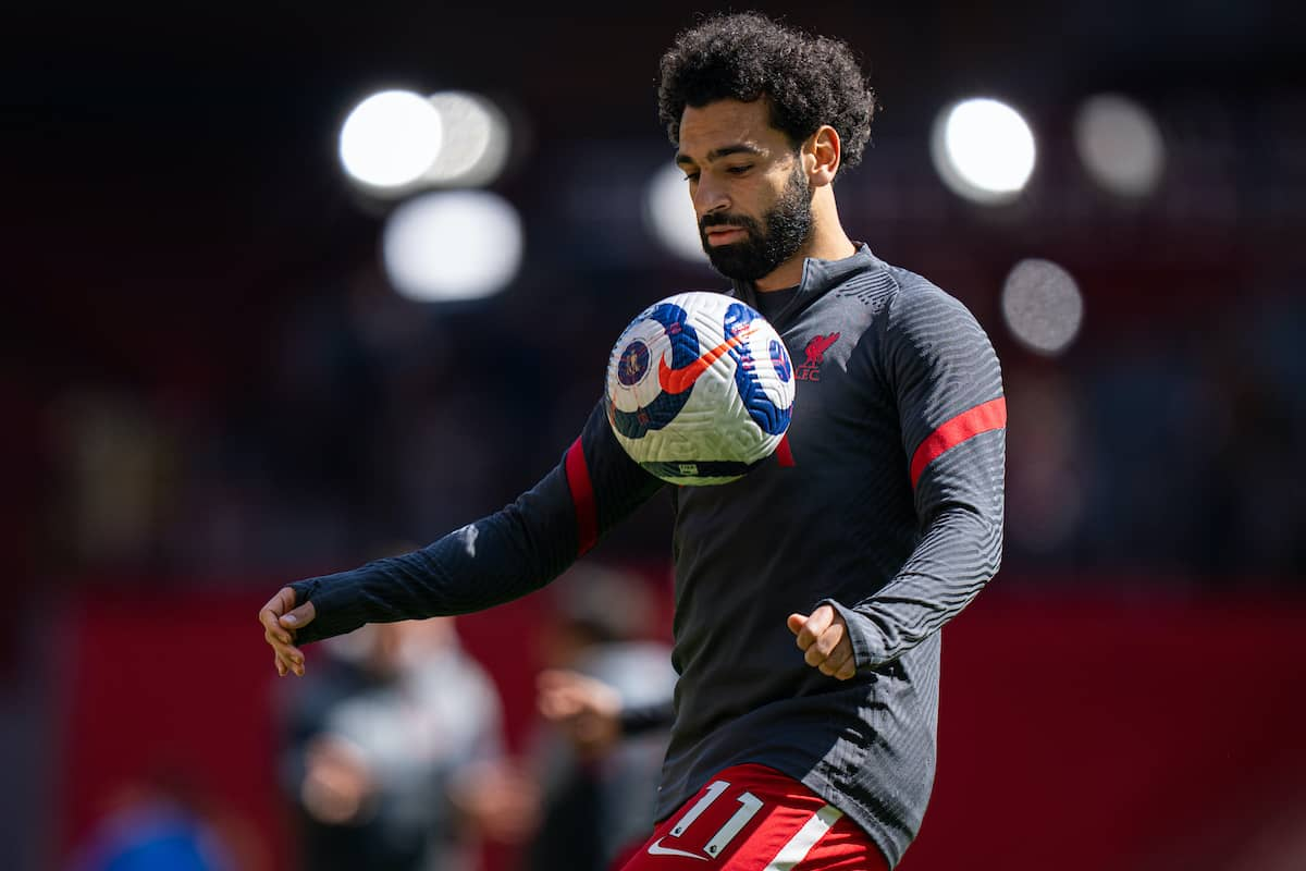 LIVERPOOL, ENGLAND - Saturday, April 24, 2021: Liverpool's Mohamed Salah during the pre-match warm-up before the FA Premier League match between Liverpool FC and Newcastle United FC at Anfield. (Pic by David Rawcliffe/Propaganda)