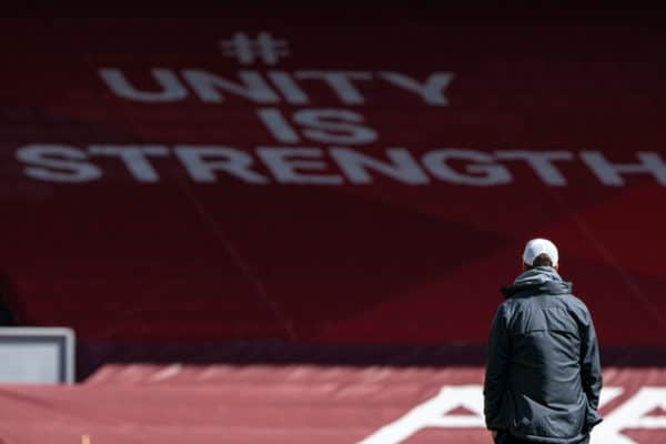 """LIVERPOOL, ENGLAND - Saturday, April 24, 2021: """"Unity is strength"""" Liverpool's manager Jürgen Klopp during the pre-match warm-up before the FA Premier League match between Liverpool FC and Newcastle United FC at Anfield. (Pic by David Rawcliffe/Propaganda)"""