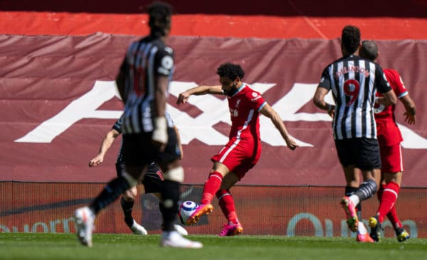LIVERPOOL, ENGLAND - Saturday, April 24, 2021: Liverpool's Mohamed Salah scores the first goal during the FA Premier League match between Liverpool FC and Newcastle United FC at Anfield. (Pic by David Rawcliffe/Propaganda)