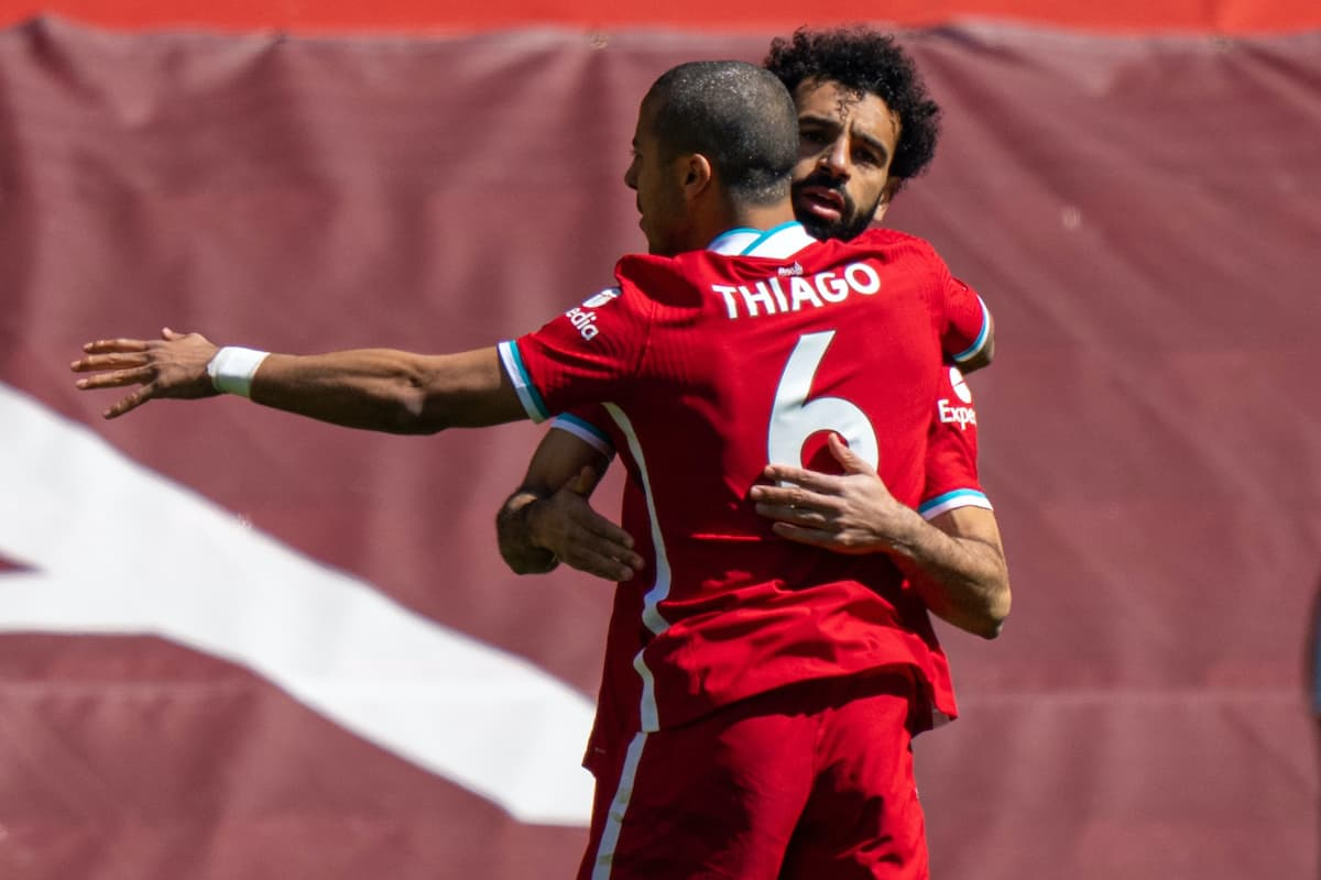 LIVERPOOL, ENGLAND - Saturday, April 24, 2021: Liverpool's Mohamed Salah (R) celebrates with team-mate Thiago Alcantara after scoring the first goal during the FA Premier League match between Liverpool FC and Newcastle United FC at Anfield. (Pic by David Rawcliffe/Propaganda)