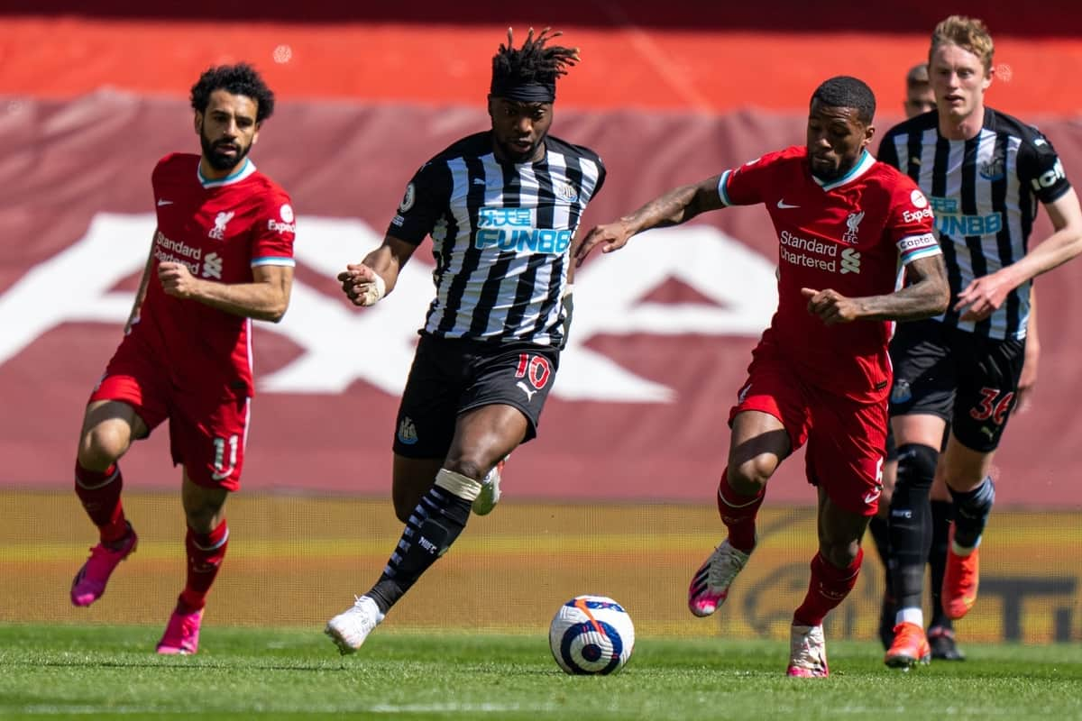 LIVERPOOL, ENGLAND - Saturday, April 24, 2021: Newcastle United's Allan Saint-Maximin (C) during the FA Premier League match between Liverpool FC and Newcastle United FC at Anfield. (Pic by David Rawcliffe/Propaganda)