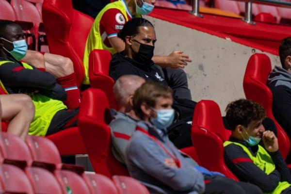 LIVERPOOL, ENGLAND - Saturday, April 24, 2021: Liverpool's injured Virgil van Dijk watches from the bench during the FA Premier League match between Liverpool FC and Newcastle United FC at Anfield. (Pic by David Rawcliffe/Propaganda)