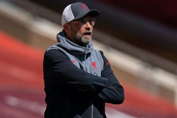 LIVERPOOL, ENGLAND - Saturday, April 24, 2021: Liverpool's manager Jürgen Klopp during the FA Premier League match between Liverpool FC and Newcastle United FC at Anfield. (Pic by David Rawcliffe/Propaganda)