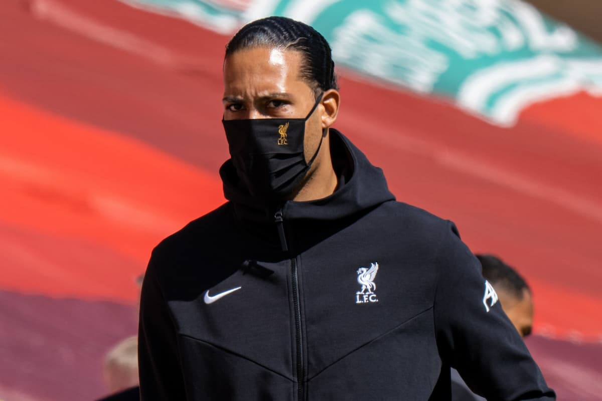 LIVERPOOL, ENGLAND - Saturday, April 24, 2021: Liverpool's injured Virgil van Dijk during the FA Premier League match between Liverpool FC and Newcastle United FC at Anfield. (Pic by David Rawcliffe/Propaganda)