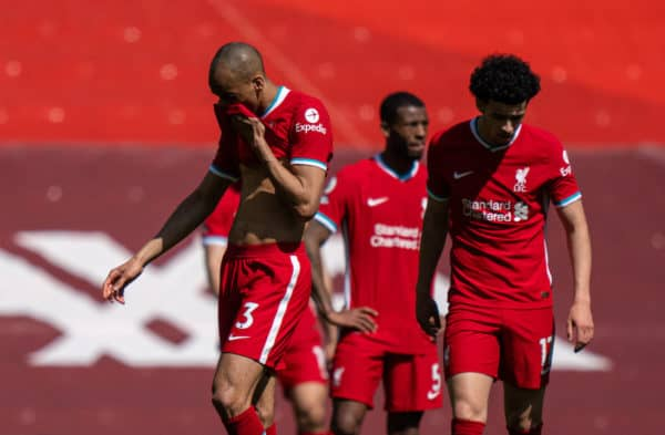 LIVERPOOL, ENGLAND - Saturday, April 24, 2021: Liverpool's Fabio Henrique Tavares 'Fabinho' looks dejected after his side concede a 95th minute equalising goal during the FA Premier League match between Liverpool FC and Newcastle United FC at Anfield. (Pic by David Rawcliffe/Propaganda)