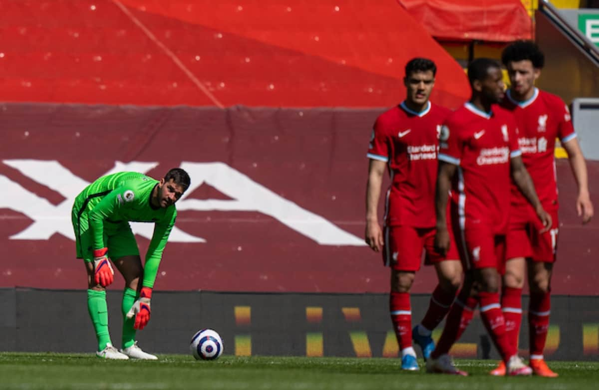 LIVERPOOL, ENGLAND - Saturday, April 24, 2021: Liverpool's goalkeeper Alisson Becker looks dejected after his side concede a 95th minute equalising goal during the FA Premier League match between Liverpool FC and Newcastle United FC at Anfield. (Pic by David Rawcliffe/Propaganda)