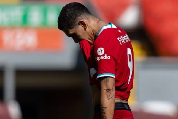 LIVERPOOL, ENGLAND - Saturday, April 24, 2021: Liverpool's Roberto Firmino walks off dejected after his side concede a 95th minute equalising goal during the FA Premier League match between Liverpool FC and Newcastle United FC at Anfield. (Pic by David Rawcliffe/Propaganda)