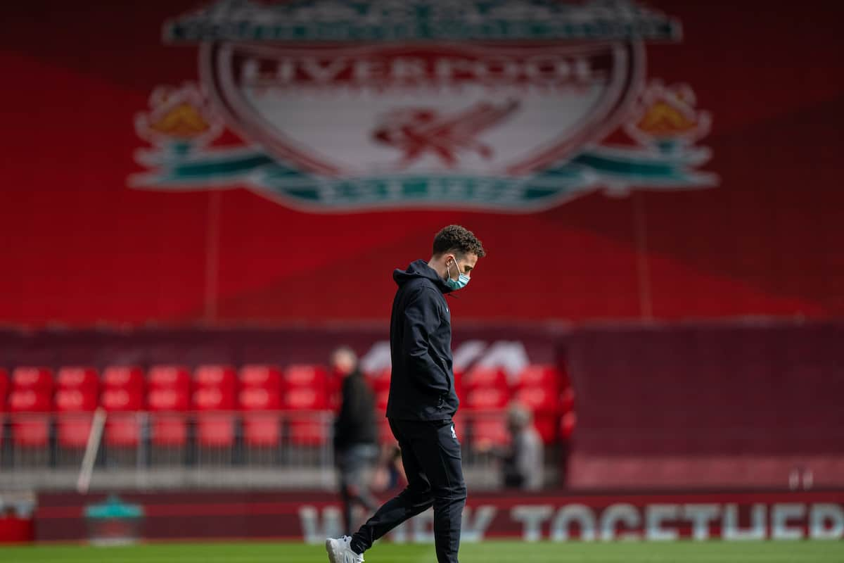 LIVERPOOL, ENGLAND - Saturday, April 24, 2021: Liverpool's Diogo Jota before the FA Premier League match between Liverpool FC and Newcastle United FC at Anfield. (Pic by David Rawcliffe/Propaganda)