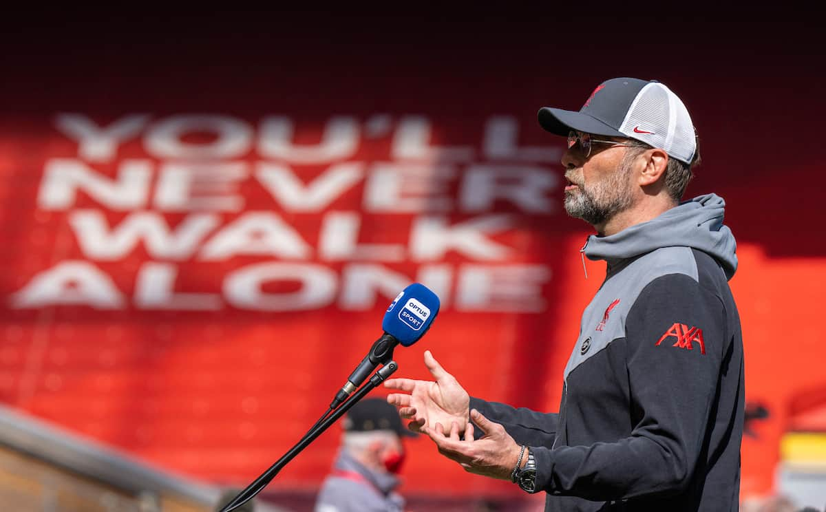 LIVERPOOL, ENGLAND - Saturday, April 24, 2021: Liverpool's manager Jürgen Klopp speaks ot the media after the FA Premier League match between Liverpool FC and Newcastle United FC at Anfield. The game ended in a 1-1 draw. (Pic by David Rawcliffe/Propaganda)