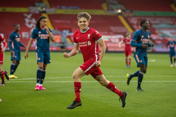 LIVERPOOL, ENGLAND - Friday, April 30, 2021: Liverpool's James Norris celebrates after scoring the second goal, from a penalty-kick, during the FA Youth Cup Quarter-Final match between Liverpool FC Under-18's and Arsenal FC Under-18's at Anfield. (Pic by David Rawcliffe/Propaganda)