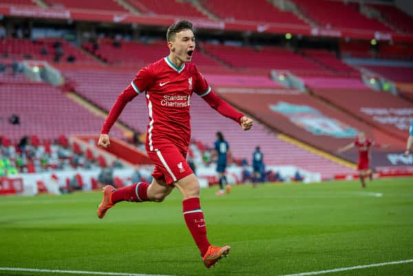 LIVERPOOL, ENGLAND - Friday, April 30, 2021: Liverpool's Mateusz Musialowski celebrates after scoring the third goal during the FA Youth Cup Quarter-Final match between Liverpool FC Under-18's and Arsenal FC Under-18's at Anfield. (Pic by David Rawcliffe/Propaganda)