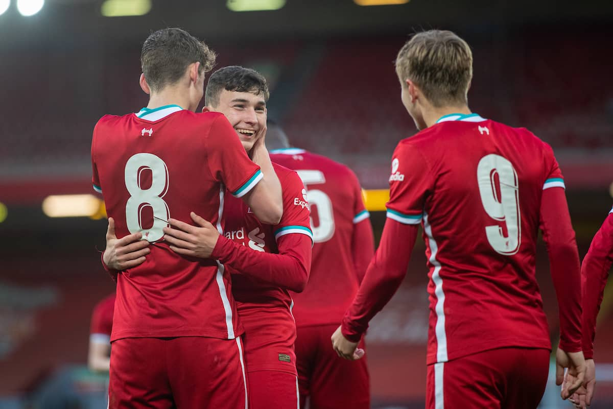 LIVERPOOL, ENGLAND - Friday, April 30, 2021: Liverpool's Mateusz Musialowski (R) celebrates with team-mate Tyler Morton (L) and Max Woltman (R) after scoring the third goal during the FA Youth Cup Quarter-Final match between Liverpool FC Under-18's and Arsenal FC Under-18's at Anfield. (Pic by David Rawcliffe/Propaganda)