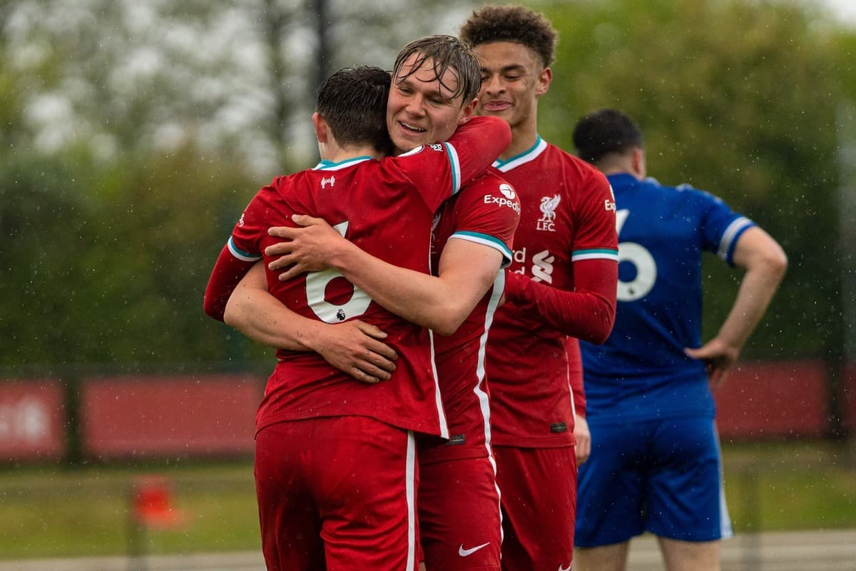 KIRKBY, ENGLAND - Monday, May 3, 2021: Liverpool's Leighton Clarkson (L) celebrates with team-mates Paul Glatzel (C) and Fidel O'Rourke (R) after scoring the first goal during the Premier League 2 Division 1 match between Liverpool FC Under-23's and Leicester City FC Under-23's at the Liverpool Academy. (Pic by David Rawcliffe/Propaganda)