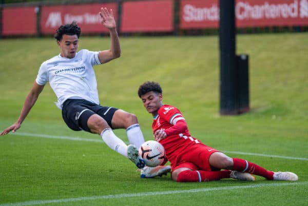 KIRKBY, ENGLAND - Tuesday, May 4, 2021: Derby County's Harrison Solomon (L) challenges Liverpool's Melkamu Frauendorf during the Under-18 Premier League match between Liverpool FC 18-23's and Derby County FC Under-18's at the Liverpool Academy. (Pic by David Rawcliffe/Propaganda)