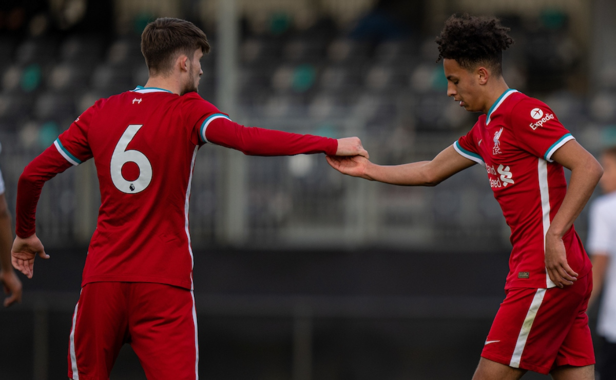 KIRKBY, ENGLAND - Tuesday, May 4, 2021: Liverpool's Kaide Gordon (R) celebrates after scoring the first goal with team-mate Terrance Miles during the Under-18 Premier League match between Liverpool FC 18-23's and Derby County FC Under-18's at the Liverpool Academy. (Pic by David Rawcliffe/Propaganda)