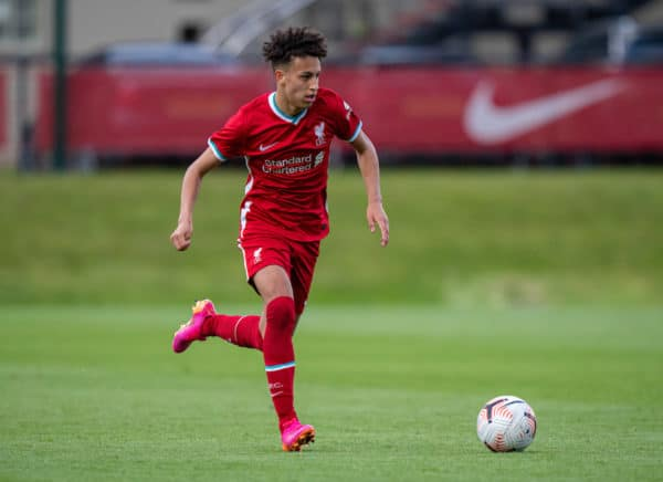 KIRKBY, ENGLAND - Tuesday, May 4, 2021: Liverpool's Kaide Gordon during the Under-18 Premier League match between Liverpool FC 18-23's and Derby County FC Under-18's at the Liverpool Academy. (Pic by David Rawcliffe/Propaganda)