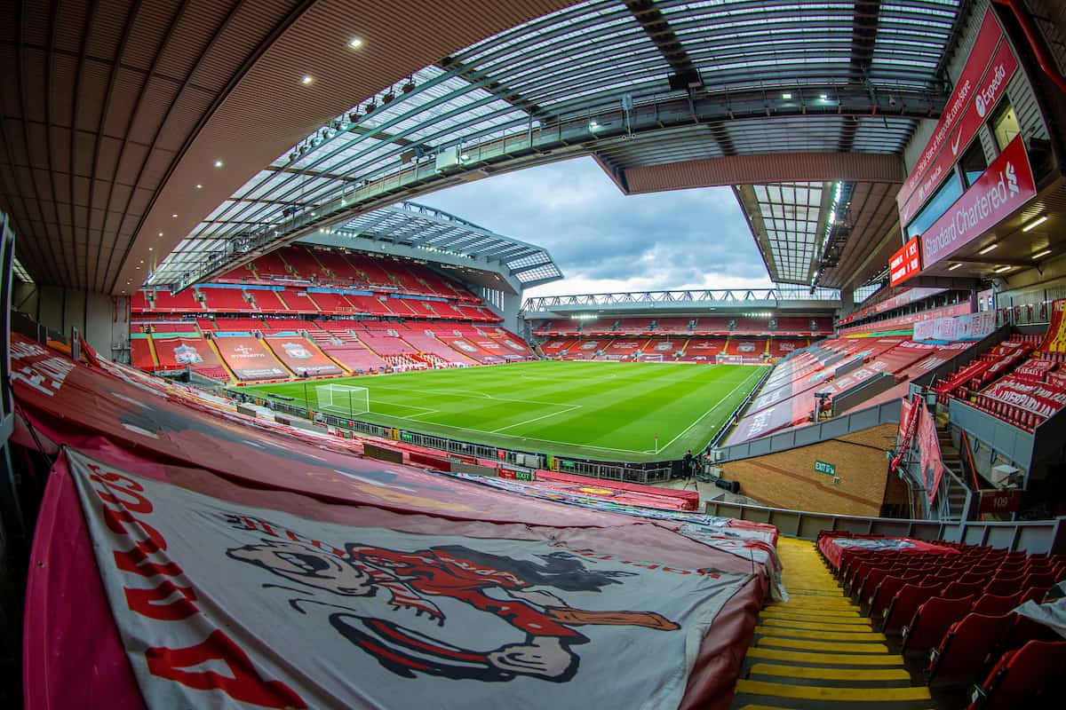 LIVERPOOL, ENGLAND - Saturday, May 8, 2021: A general view of Anfield from the Spion Kop before the FA Premier League match between Liverpool FC and Southampton FC at Anfield. (Pic by David Rawcliffe/Propaganda)