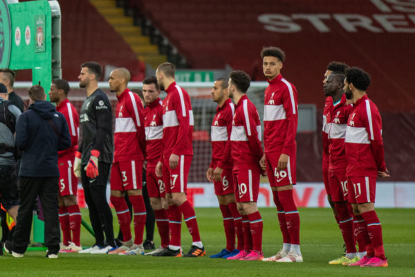 LIVERPOOL, ENGLAND - Saturday, May 8, 2021: Liverpool players line-up before the FA Premier League match between Liverpool FC and Southampton FC at Anfield. (Pic by David Rawcliffe/Propaganda)