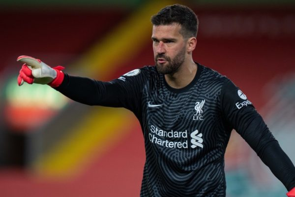 LIVERPOOL, ENGLAND - Saturday, May 8, 2021: Liverpool's goalkeeper Alisson Becker during the FA Premier League match between Liverpool FC and Southampton FC at Anfield. (Pic by David Rawcliffe/Propaganda)