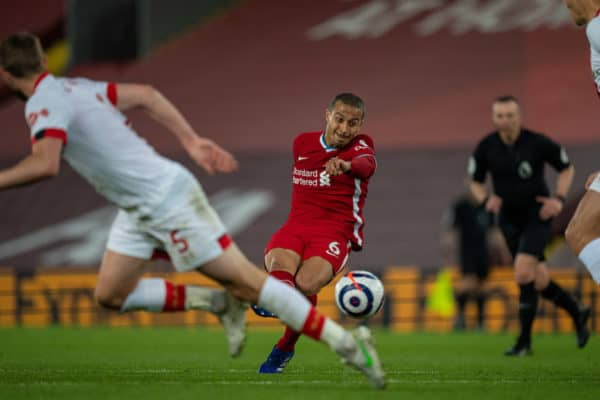 LIVERPOOL, ENGLAND - Saturday, May 8, 2021: Liverpool's Thiago Alcantara scores the second goal during the FA Premier League match between Liverpool FC and Southampton FC at Anfield. (Pic by David Rawcliffe/Propaganda)