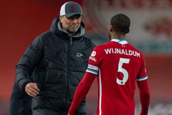 LIVERPOOL, ENGLAND - Saturday, May 8, 2021: Liverpool's manager Jürgen Klopp (L) celebrates with Georginio Wijnaldum after the FA Premier League match between Liverpool FC and Southampton FC at Anfield. Liverpool won 2-0. (Pic by David Rawcliffe/Propaganda)