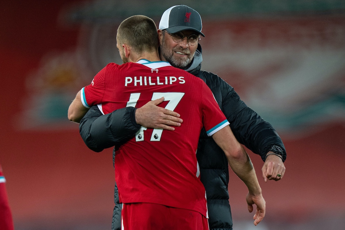 LIVERPOOL, ENGLAND - Saturday, May 8, 2021: Liverpool's Nathaniel Phillips (L) celebrates with manager Jürgen Klopp after the FA Premier League match between Liverpool FC and Southampton FC at Anfield. Liverpool won 2-0. (Pic by David Rawcliffe/Propaganda)