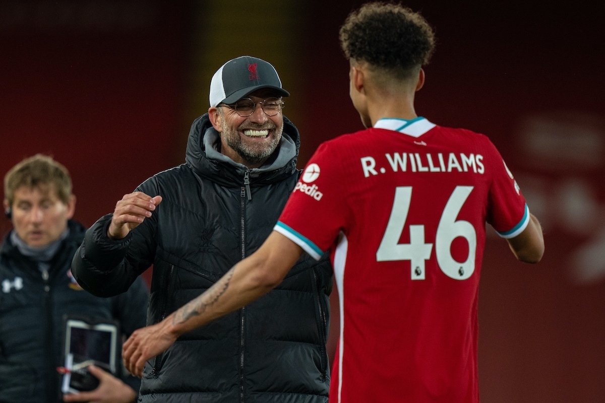 LIVERPOOL, ENGLAND - Saturday, May 8, 2021: Liverpool's Rhys Williams (R) celebrates with manager Jürgen Klopp after the FA Premier League match between Liverpool FC and Southampton FC at Anfield. Liverpool won 2-0. (Pic by David Rawcliffe/Propaganda)