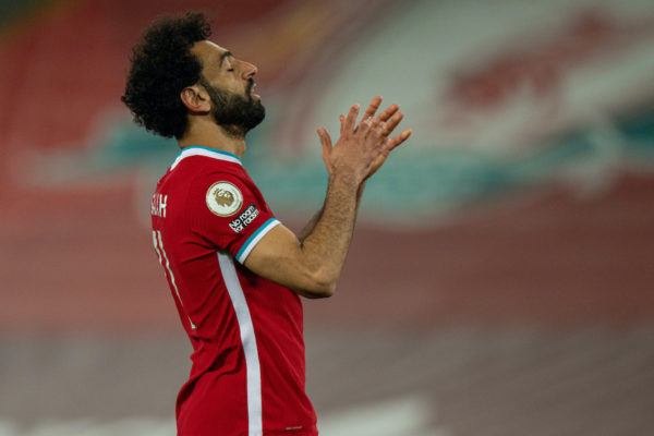 LIVERPOOL, ENGLAND - Saturday, May 8, 2021: Liverpool's Mohamed Salah looks dejected after missing a chance during the FA Premier League match between Liverpool FC and Southampton FC at Anfield. (Pic by David Rawcliffe/Propaganda)