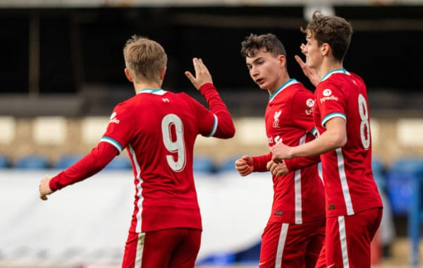 IPSWICH, ENGLAND - Wednesday, May 12, 2021: Liverpool's Mateusz Musialowski celebrates scoring the first equalising goal during the FA Youth Cup Semi-Final match between Ipswich Town FC Under-18's and Liverpool FC Under-18's at Portman Road. (Pic by David Rawcliffe/Propaganda)