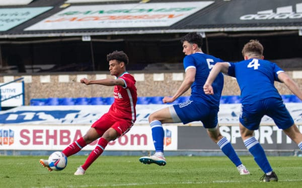 IPSWICH, ENGLAND - Wednesday, May 12, 2021: Liverpool's substitiute Melkamu Frauendorf scores the second goal during the FA Youth Cup Semi-Final match between Ipswich Town FC Under-18's and Liverpool FC Under-18's at Portman Road. (Pic by David Rawcliffe/Propaganda)
