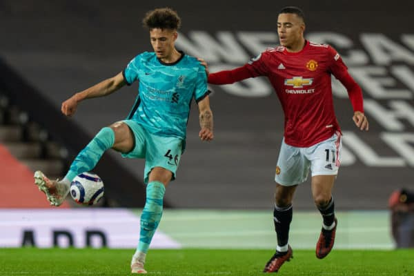 MANCHESTER, ENGLAND - Thursday, May 13, 2021: Liverpool's Rhys Williams (L) and Manchester United's Mason Greenwood during the FA Premier League match between Manchester United FC and Liverpool FC at Old Trafford. (Pic by David Rawcliffe/Propaganda)