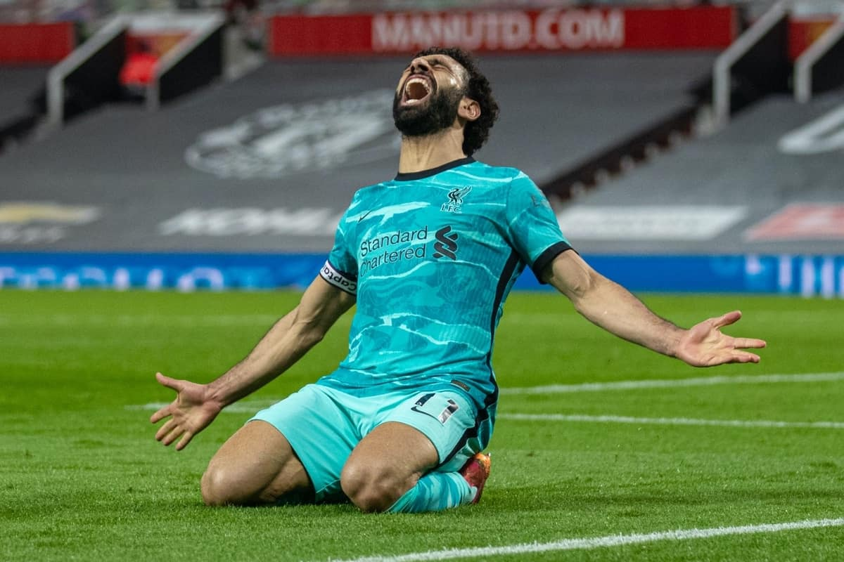 MANCHESTER, ENGLAND - Thursday, May 13, 2021: Liverpool's Mohamed Salah celebrates after scoring the fourth goal during the FA Premier League match between Manchester United FC and Liverpool FC at Old Trafford. (Pic by David Rawcliffe/Propaganda)