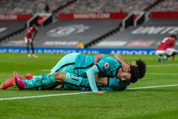MANCHESTER, ENGLAND - Thursday, May 13, 2021: Liverpool's Mohamed Salah (R) celebrates with team-mate Curtis Jones after scoring the fourth goal during the FA Premier League match between Manchester United FC and Liverpool FC at Old Trafford. (Pic by David Rawcliffe/Propaganda)