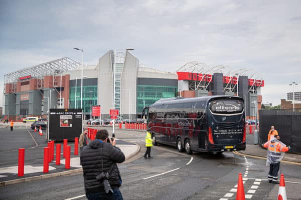 MANCHESTER, ENGLAND - Thursday, May 13, 2021: Liverpool's team coaches arrive with a police escort before the FA Premier League match between Manchester United FC and Liverpool FC at Old Trafford. (Pic by David Rawcliffe/Propaganda)
