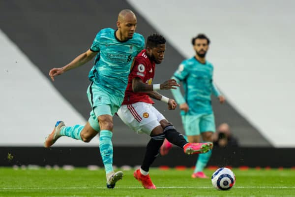MANCHESTER, ENGLAND - Thursday, May 13, 2021: Liverpool's Fabio Henrique Tavares 'Fabinho' (L) and Manchester United's Frederico Rodrigues de Paula Santos 'Fred' during the FA Premier League match between Manchester United FC and Liverpool FC at Old Trafford. (Pic by David Rawcliffe/Propaganda)