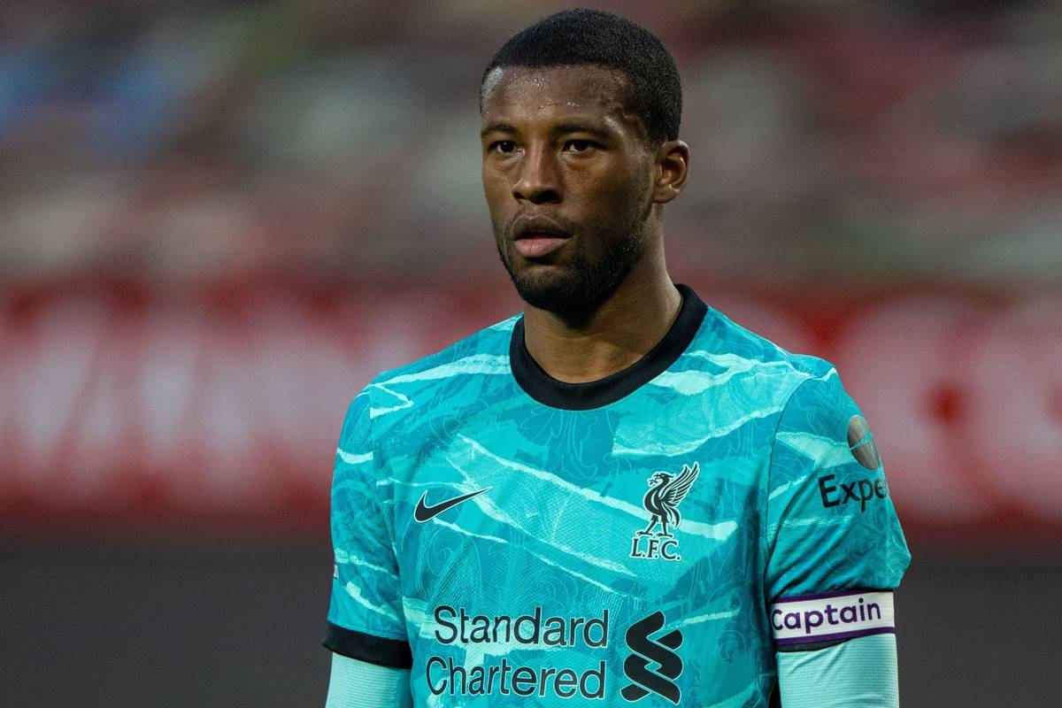 MANCHESTER, ENGLAND - Thursday, May 13, 2021: Liverpool's captain Georginio Wijnaldum during the FA Premier League match between Manchester United FC and Liverpool FC at Old Trafford. (Pic by David Rawcliffe/Propaganda)