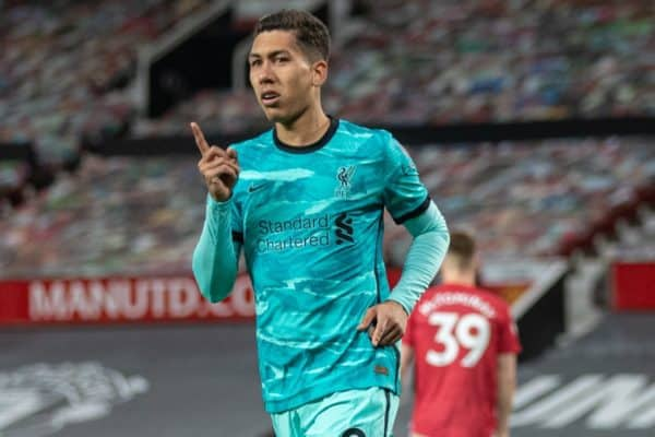 MANCHESTER, ENGLAND - Thursday, May 13, 2021: Liverpool's Roberto Firmino celebrates after scoring the third goal, his second of the game, during the FA Premier League match between Manchester United FC and Liverpool FC at Old Trafford. (Pic by David Rawcliffe/Propaganda)
