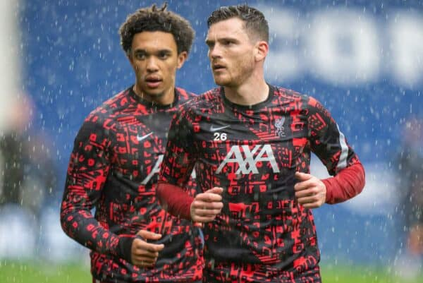 WEST BROMWICH, ENGLAND - Sunday, May 16, 2021: Liverpool's Andy Robertson (R) and Trent Alexander-Arnold (L) during the pre-match warm-up before the FA Premier League match between West Bromwich Albion FC and Liverpool FC at The Hawthorns. (Pic by David Rawcliffe/Propaganda)