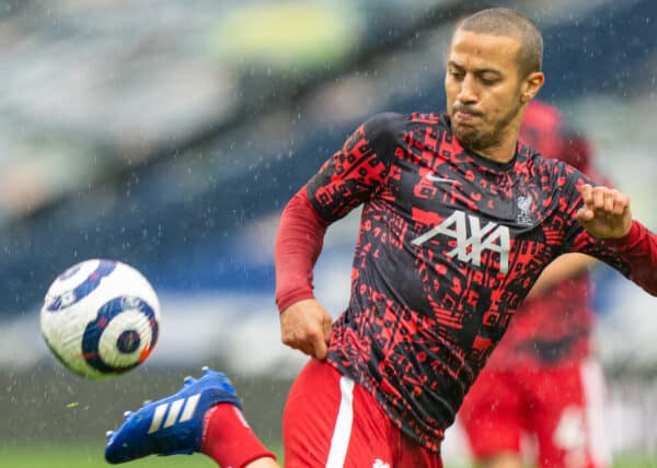 WEST BROMWICH, ENGLAND - Sunday, May 16, 2021: Liverpool's Thiago Alcantara during the pre-match warm-up before the FA Premier League match between West Bromwich Albion FC and Liverpool FC at The Hawthorns. (Pic by David Rawcliffe/Propaganda)