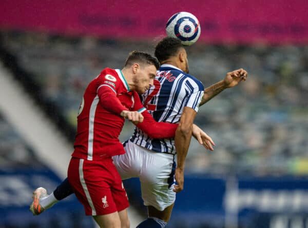 WEST BROMWICH, ENGLAND - Sunday, May 16, 2021: Liverpool's Andy Robertson (L) challenges for a header with West Bromwich Albion's Darnell Furlong during the FA Premier League match between West Bromwich Albion FC and Liverpool FC at The Hawthorns. (Pic by David Rawcliffe/Propaganda)
