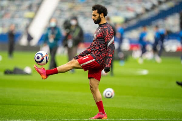 WEST BROMWICH, ENGLAND - Sunday, May 16, 2021: Liverpool's Mohamed Salah during the pre-match warm-up before the FA Premier League match between West Bromwich Albion FC and Liverpool FC at The Hawthorns. (Pic by David Rawcliffe/Propaganda)