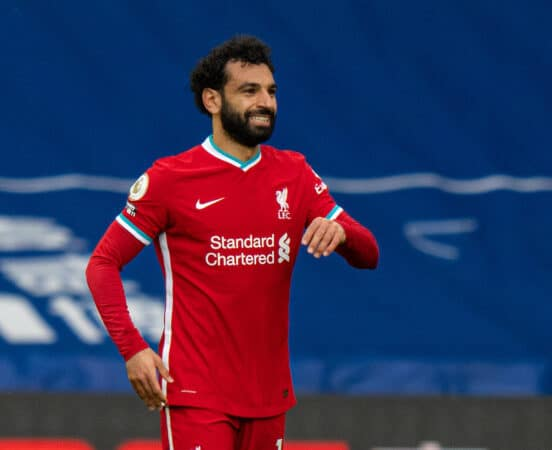 WEST BROMWICH, ENGLAND - Sunday, May 16, 2021: Liverpool's Mohamed Salah celebrates after scoring the first equalising goal during the FA Premier League match between West Bromwich Albion FC and Liverpool FC at The Hawthorns. (Pic by David Rawcliffe/Propaganda)