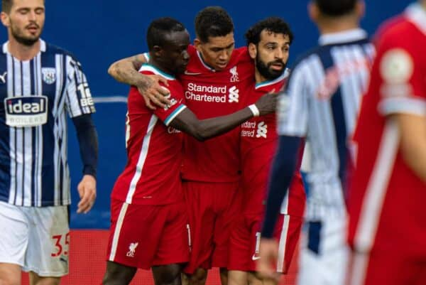 WEST BROMWICH, ENGLAND - Sunday, May 16, 2021: Liverpool's Mohamed Salah (R) celebrates after scoring the first equalising goal with team-mates Sadio Mané (L) and Roberto Firmino (C) during the FA Premier League match between West Bromwich Albion FC and Liverpool FC at The Hawthorns. (Pic by David Rawcliffe/Propaganda)