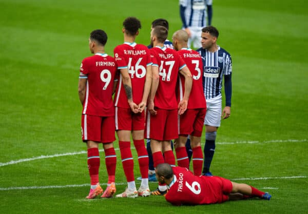 WEST BROMWICH, ENGLAND - Sunday, May 16, 2021: Liverpool's Thiago Alcantara lies down as his team form a defensive wall during the FA Premier League match between West Bromwich Albion FC and Liverpool FC at The Hawthorns. (Pic by David Rawcliffe/Propaganda)
