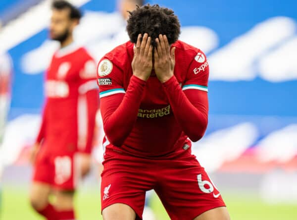 WEST BROMWICH, ENGLAND - Sunday, May 16, 2021: Liverpool's Trent Alexander-Arnold looks dejected after missing a chance during the FA Premier League match between West Bromwich Albion FC and Liverpool FC at The Hawthorns. (Pic by David Rawcliffe/Propaganda)