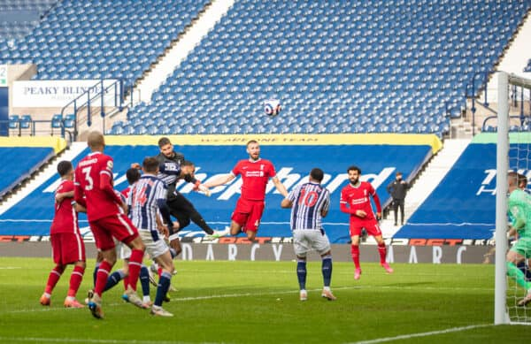 WEST BROMWICH, ENGLAND - Sunday, May 16, 2021: Liverpool's goalkeeper Alisson Becker scores the winning second goal with a head in injury time during the FA Premier League match between West Bromwich Albion FC and Liverpool FC at The Hawthorns. (Pic by David Rawcliffe/Propaganda)