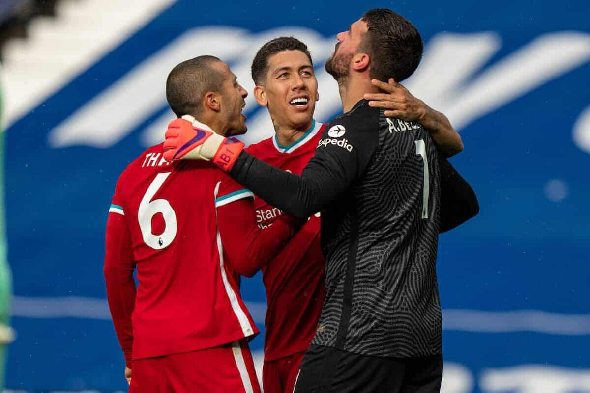 WEST BROMWICH, ENGLAND - Sunday, May 16, 2021: Liverpool's goalkeeper Alisson Becker (R) celebrates with team-mates Thiago Alcantara (L) and Roberto Firmino (C) after he scored the winning second goal with a head in injury time during the FA Premier League match between West Bromwich Albion FC and Liverpool FC at The Hawthorns. (Pic by David Rawcliffe/Propaganda)